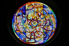 Stained Glass in the Collegiata of San Gimignano Royalty Free Stock Photography