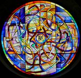 Stained Glass in the Collegiata of San Gimignano Stock Photo