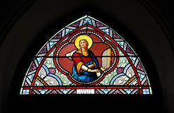 Stained Glass Color Saint Cecile Stock Photo