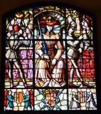 Stained Glass Window. Colorful stained glass window royal crown royalty free stock images