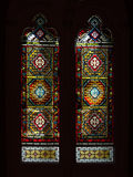 Stained glass, colorful window with a Christian theme Royalty Free Stock Photos