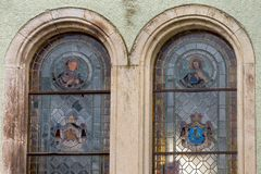 Stained-glass colorful window of the church.  Royalty Free Stock Image