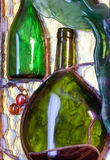 Stained glass composition of wine theme Royalty Free Stock Image