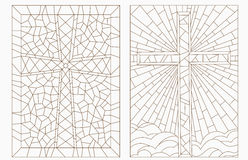 Stained glass contour illustration from Catholic crosses. Set contour illustrations with Christian cross Royalty Free Stock Photo