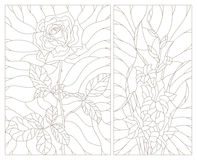Stained glass contour kit abstract flowers of rose and gladiolus, dark outline on a white background. Set contour illustrations in the stained glass style Stock Photos