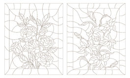 Stained glass contour kit  abstract flowers of rose and Lily, dark outline on a white background Stock Image