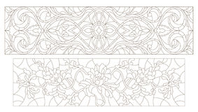 Stained glass contour kit  with abstract swirls and flowers , horizontal orientation Royalty Free Stock Photography