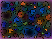 Stained Glass Cool Hearts Stock Image