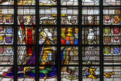 Stained Glass of the Coronation of a king Stock Images