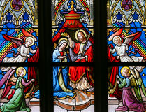Stained Glass - Coronation of the Virgin Royalty Free Stock Images