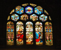 Stained Glass Creche. Nativity scene in stained glass church window Stock Images