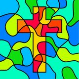 Stained glass cross Stock Images