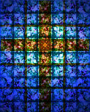 Stained Glass Cross. Religious spiritual theme of a cross on a stained glass mosaic of blue tone colors, especially good for Easter and Christmas designs and royalty free illustration