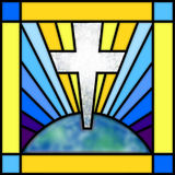 Stained Glass Cross. The image of a cross and the earth illustrated as stained glass Royalty Free Stock Photography