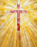 Stained Glass Cross. Red and Yellow Stained Glass Cross Stock Images