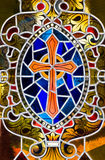 Stained Glass Cross royalty free stock photo