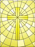 Stained glass cross on gold Royalty Free Stock Images
