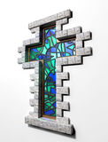 Stained Glass Crucifix Window Isolated Stock Photography