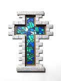 Stained Glass Crucifix Window Isolated Royalty Free Stock Photography