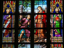 Stained Glass in Den Bosch Cathedral. Stained Glass Window depicting the verse Luke 15:10 in Den Bosch Cathedral, North Brabant. There is rejoicing in the Stock Image