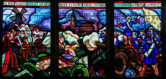Stained Glass of the Departure of Pierre Boucher at La Rochelle Stock Images
