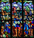 Stained Glass of the Departure of Pierre Boucher at La Rochelle Royalty Free Stock Image