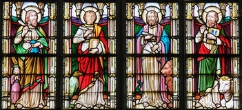 Stained Glass depicting the Four Evangelists Royalty Free Stock Image
