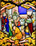 Stained Glass depicting the Three Kings in Tours Cathedral Stock Image