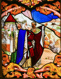 Stained Glass depicting the Three Kings in Tours Cathedral Stock Photos
