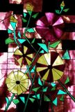 Stained glass design. Painting of stylized open roses and buds. Shades of green, red, yellow, black (myself many years ago stock illustration