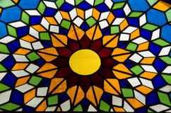 Stained glass. Detail of Cordoba's mosque Arabic pattern stained glass Stock Photos