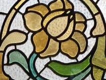 Stained glass detail. Window Palau de La Musica Catalana Stock Image