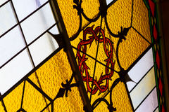 Stained Glass Details inside a Church. Bright Stained Glass Details inside a Church Stock Photo