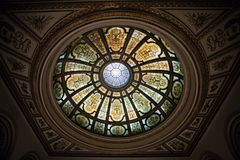 Stained glass dome. In Chicago Cultural Center Stock Images