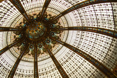 Stained glass dome. Detail of colourful classical stained glass dome Stock Photo