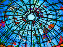 Stained-glass dome. (color photo Stock Photo