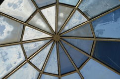 Stained glass in the dome. Blue colored stained glass in the dome Royalty Free Stock Image