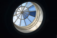 Stained glass in the dome. Blue colored stained glass in the dome Royalty Free Stock Photography