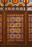 Stained Glass Door in Dowlat Abad Garden in Yazd, Iran. Dowlat Abad Garden is a beautiful traditional garden in Yazd, Iran, which dates back to 1747-48 AD stock image