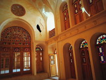 Stained glass doors, windows, rose inside Muslim palace Stock Images