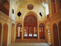 Stained glass doors, windows, rose inside Muslim palace Royalty Free Stock Photography