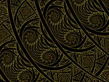 Stained Glass Double Nautilus Golden Flame Fractal vector illustration