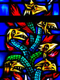 Stained glass dragons. Dragon with 6 heads in stained glass stock photography