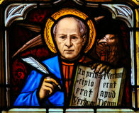 Stained Glass of the the Eagle - Saint John the Evangelist Stock Image