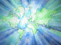 Stained Glass Earth. With rays of light vector illustration