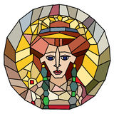 Stained glass empress head Stock Images