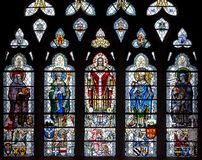 Stained Glass in Exeter Cathedral, Nave South Window E, Depicting St Jerome, St Gregory, Jesus, St Ambrose and St Augustine royalty free stock photos