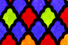 Stained glass. On a façade of a Catholic church royalty free stock photography