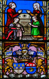 Stained Glass - Family Prayer and Coat of Arms Stock Images