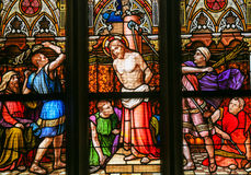 Stained Glass - Flagellation of Christ. Stained Glass in the Basilica of Vysehrad in Prague, Czech Republic, depicting the Flagellation of Christ Stock Photography